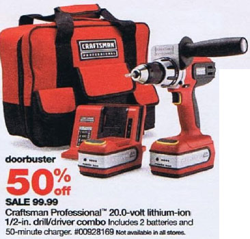 Sears Black Friday 2010 DoorBuster Craftsman 20V Lithium Ion Cordless Drill Driver
