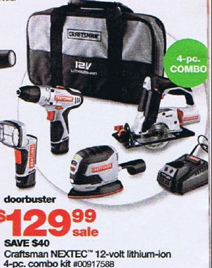 Sears Black Friday 2010 DoorBuster Craftsman Nextec 12 Volt Power Tool Combo Kit