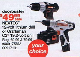 Sears Black Friday 2010 DoorBuster Nextec and C3 Cordless Drills