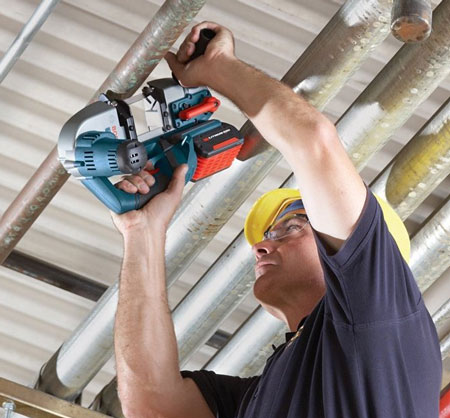 Bosch BSH180 Cordless Band Saw Overhead Usage Example