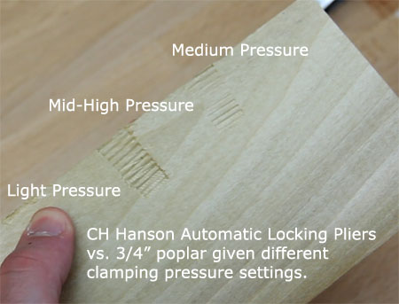 CH Hanson Automatic Locking Pliers Clamping Pressure Example