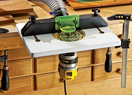 Rockler Trim Router Table with Router Attached