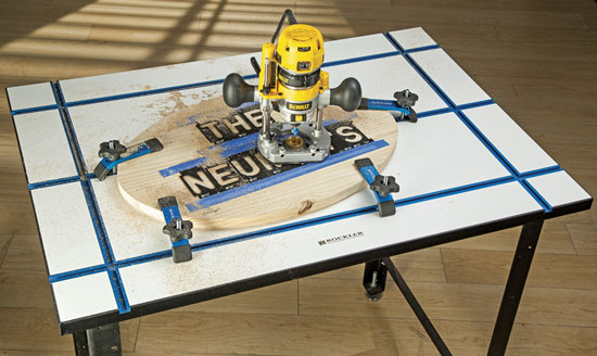 Rockler T-Track Tabletop with Clamps and Router