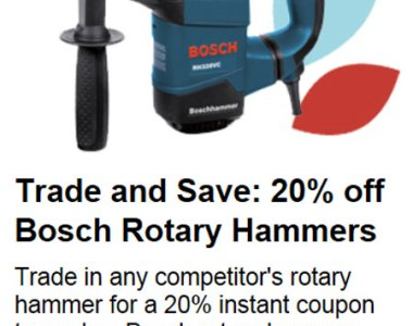 Bosch Rotary Hammer Trade-in Offer at Lowes Fall 2013