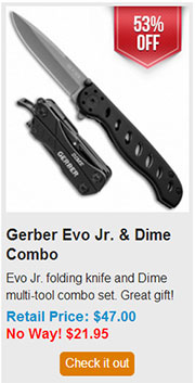 Blade HQ Black Friday 2013 11 Gerber Evo Jr and Dime Combo Deal
