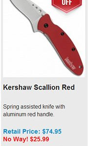 Blade HQ Cyber Monday 2013 Deal 18 Kershaw Scallion Red