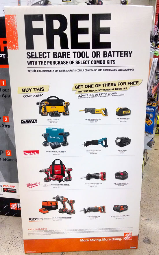 Home Depot Free Bare Tool Bonus Deals 2013