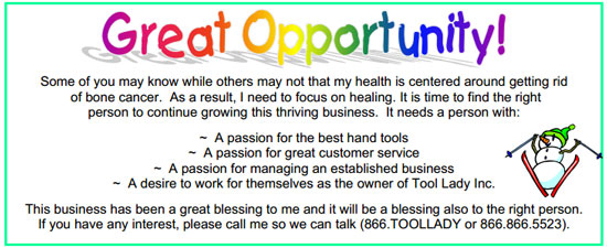 Tool Lady Business Opportunity Message