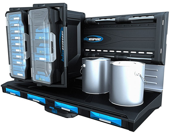 BluCave Rail with Toolboxes and Shelf