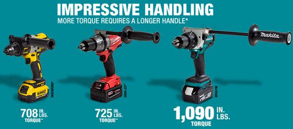 Makita 18V lxph07 Hammer Drill Handle Comparison
