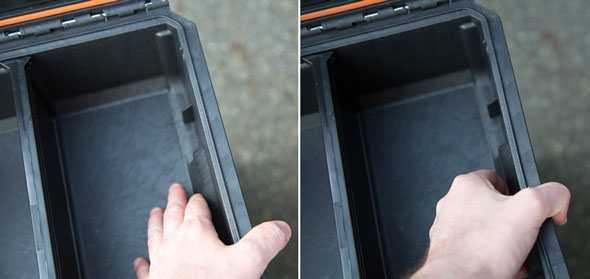 Ridgid Pro Tool Box Sidewall Flex Test