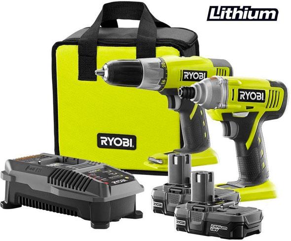 Ryobi 18V P882 Drill and Impact Driver Combo Kit