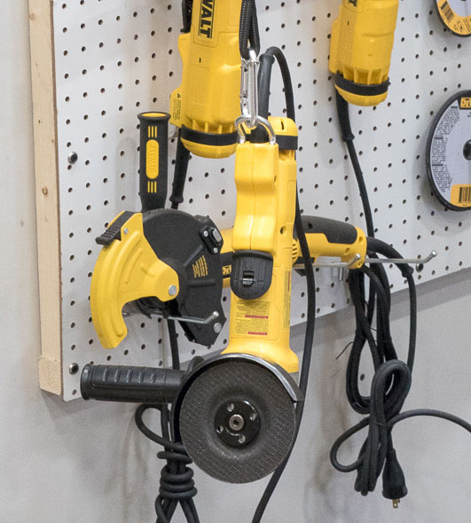 Dewalt Grinder Hanging from Safety Tether