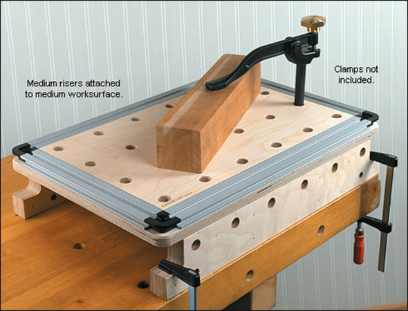 Veritas Worksurface with Riser and Clamps