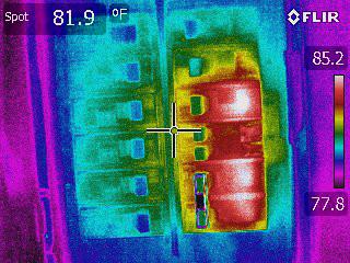 Flir E60 Thermal Image of Circuit Breaker Panel High Contrast Palette