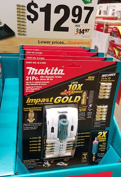Makita Impact Gold Impact Driver Screwdriver Bit Set Home Depot Holiday 2015