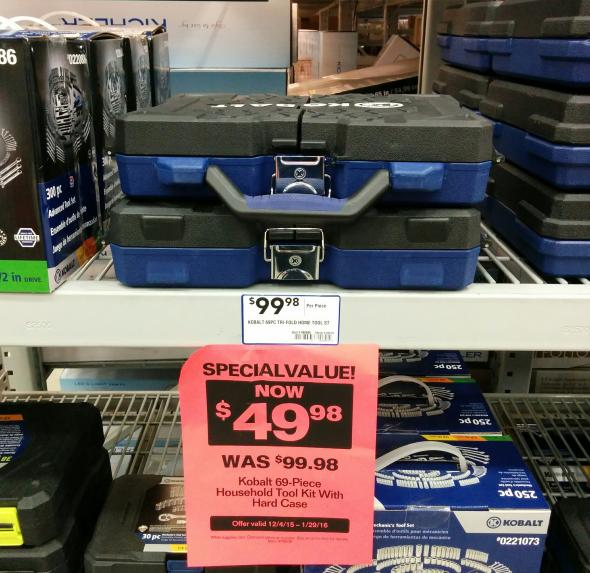 Lowes Kobalt TriFold case with tools discounted