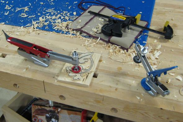 Trying various methods of clamping a carving