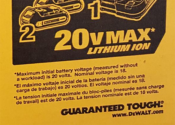 Dewalt 20V Max Cordless Drill Kit 18V Fine Print