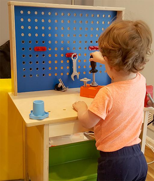 Jr with Ikea Workbench