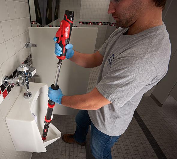 Milwaukee M12 TrapSnake Urinal Action Shot