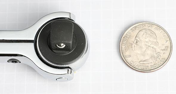 Milwaukee Swivel Ratchet Size Comparison with US Quarter