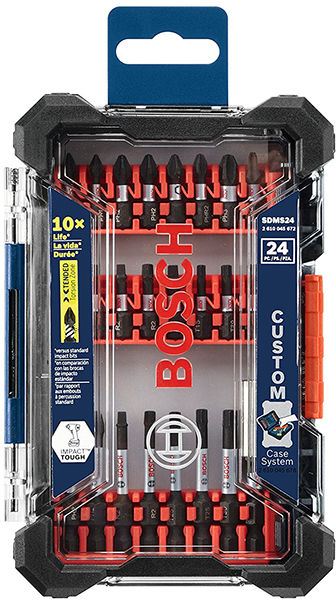 Bosch Custom Case System Small Case 24pc Impact Bit Set Closed with Clear Lid