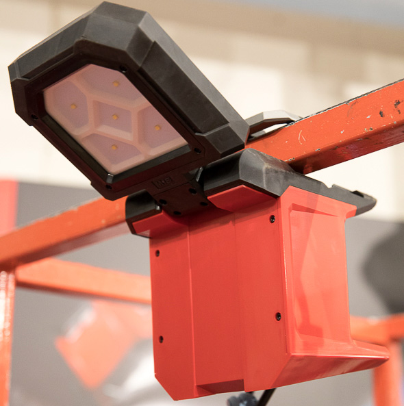 Milwaukee M18 Rover LED Light Clamped to Bar