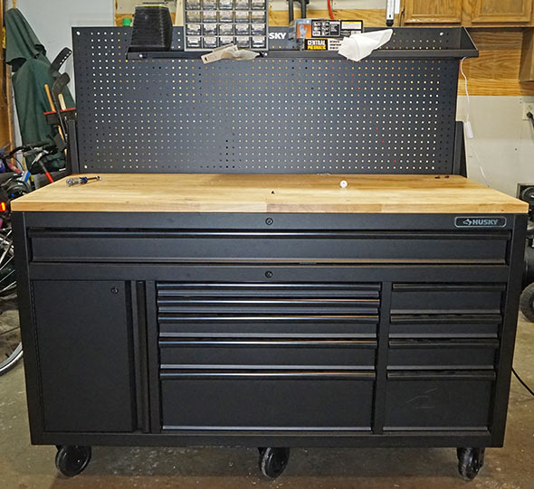 Husky Mobile Workbench pegboard at full height