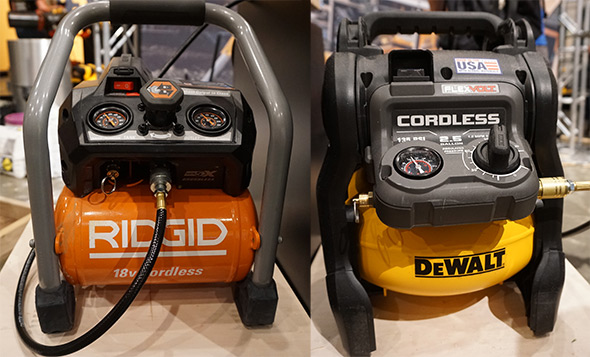 Ridgid and Dewalt cordless compressors
