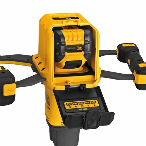 Dewalt FlexVolt 60V Max Dual Handle Paddle Mixer battery compartment