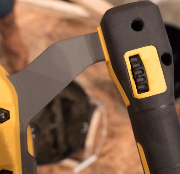 Dewalt FlexVolt 60V Max Dual Handles Paddle Mixer dial closeup