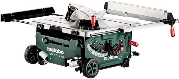 Metabo Cordless Table Saw with Roller Stand Collapsed