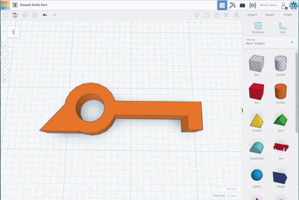 3d model of blade lever retainer in Tinkercad
