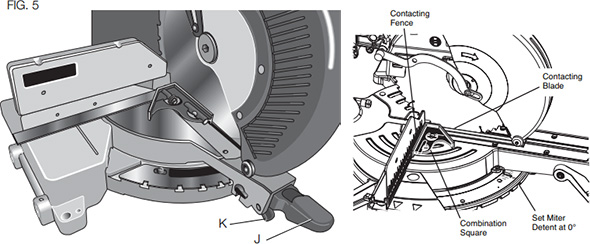 Dewalt and Bosch Miter Saw Miter Scale Adjustment Diagram