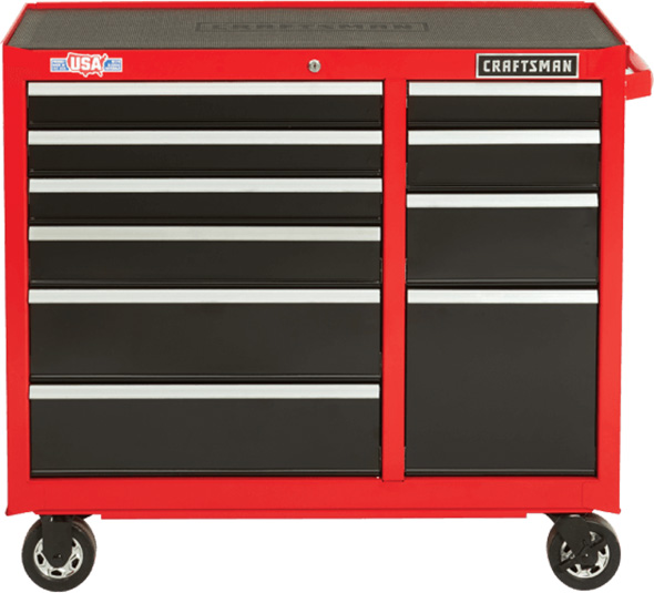Craftsman 41-inch 10-Drawer Rolling Tool Cabinet Red and Black 2018