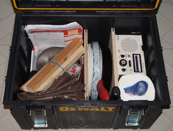 Dewalt Tough System rolling toolbox packed for camping