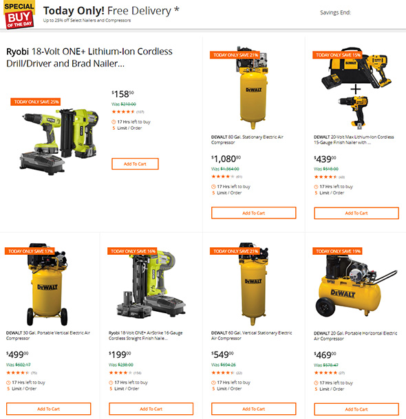 Home Depot Air Compressors and Nailers Deal of the Day 6-13-2018 Group 1