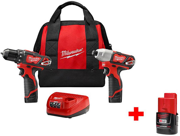 Milwaukee M12 Cordless Drill and Impact Driver Combo Kit with Free Bonus Battery