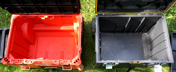 Milwaukee Packout and Dewalt Tough System Rolling Toolboxes Interior Comparison