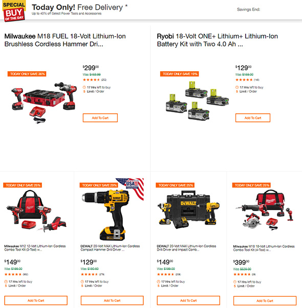 Home Depot Tool Deals of the Day 7-12-2018