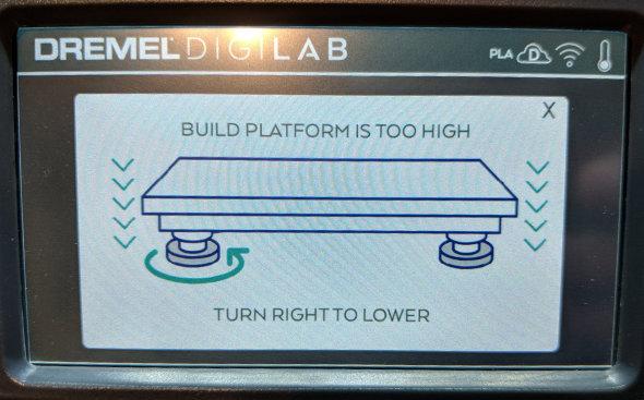 Dremel 3D45 bed leveling screen