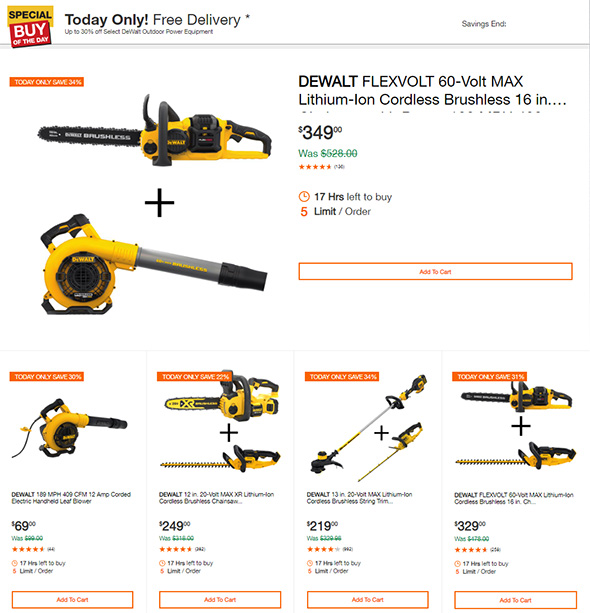 Dewalt Outdoor Power Tools Deal of the Day Oct 4th 2018
