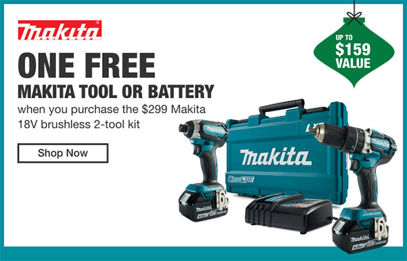 Home Depot Cordless Power Tools Holiday 2018 Tiered Savings Event Makita Promo 1