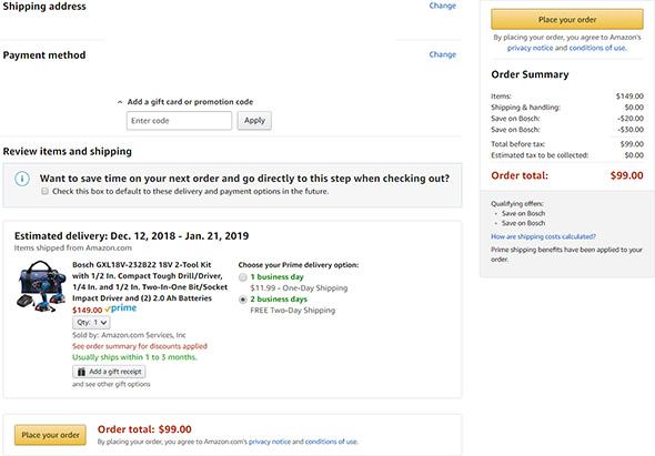 Amazon Double Bosch Discounts November 2018