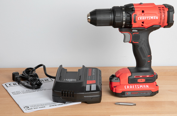 Craftsman V20 Cordless Drill Driver Kit CMCD700C1 Contents