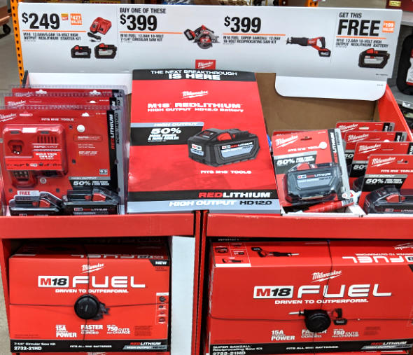 Free Milwaukee XC6 battery with HD12 starter kit display at Home Depot