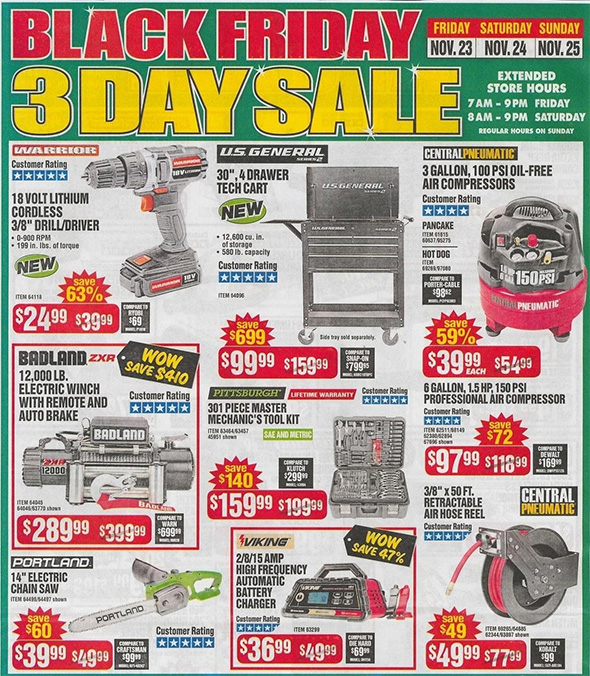 Harbor Freight Black Friday 2018 Ad Scan Page 7