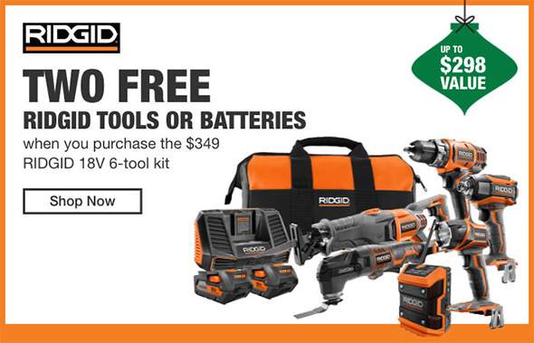 Home Depot Cordless Power Tools Holiday 2018 Tiered Savings Event Ridgid Promo 3