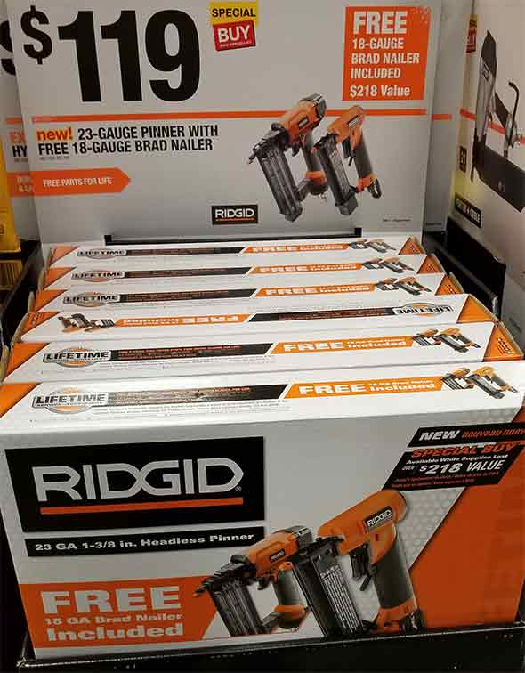 Home Depot Pro Black Friday 2018 Tool Deals Ridgid Air Pin and Brad Nailer Combo Bundle